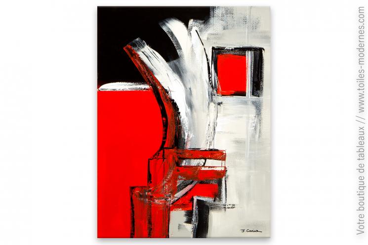 tableau rouge et noir devant la fen tre. Black Bedroom Furniture Sets. Home Design Ideas