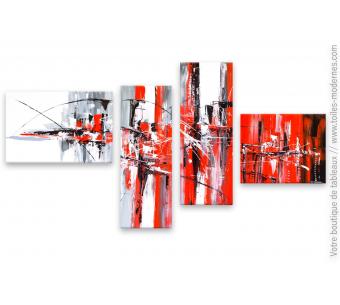 Tableau quadriptyque abstrait : Invitation en rouge et noir