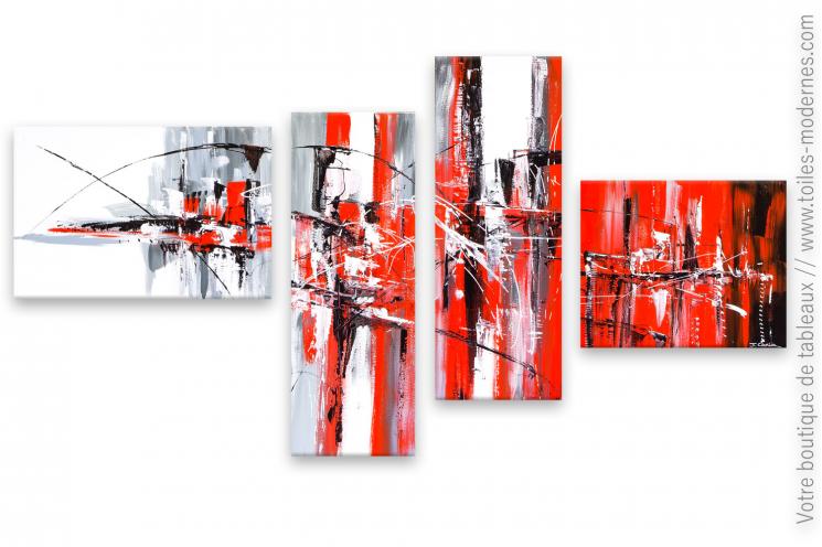 Déco en rouge et noir, tableau quadriptique  d'art moderne