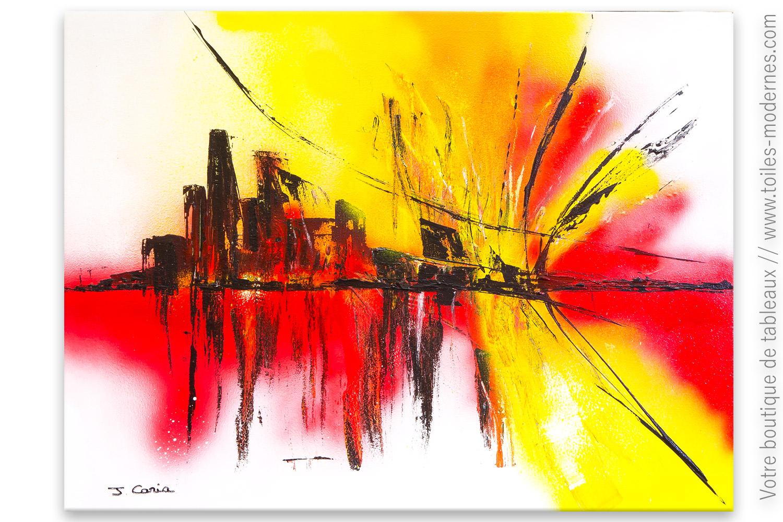 Peintures Modernes Colorées tableau blanc abstrait : ville éclatante