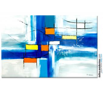 Grand tableau bleu moderne : Purification