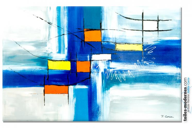 Déco murale moderne avec un grand tableau bleu  : Purification