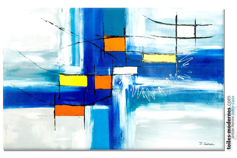 Grand tableau bleu moderne purification for Peinture geometrique contemporaine