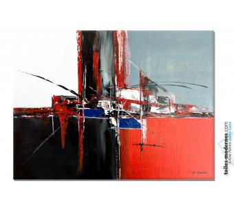 Tableau rouge et noir abstrait : Nouveau souffle