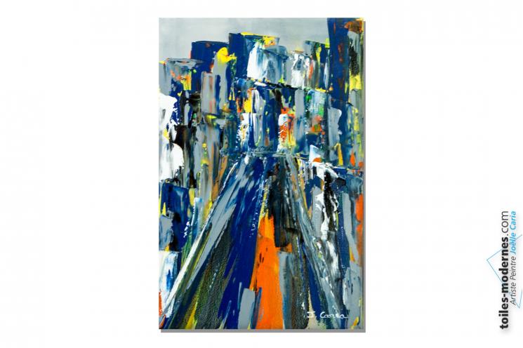 Déco bleue avec une toile moderne : Ville bleue