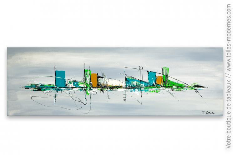 Déco avec du bleu truquoise et du vert anis, tableau : Des vacances à la mer