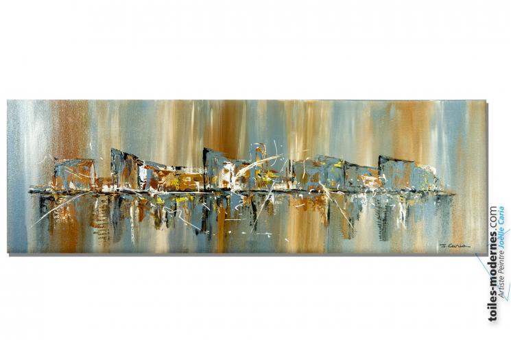 Déco marron et gris avec une grande peinture sur toile contemporaine : Esprit nouveau