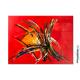 Déco rouge avec un grand tableau design : Mouvements colorés
