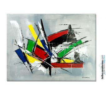 Déco design colorée avec le tableau abstrait : Exultation