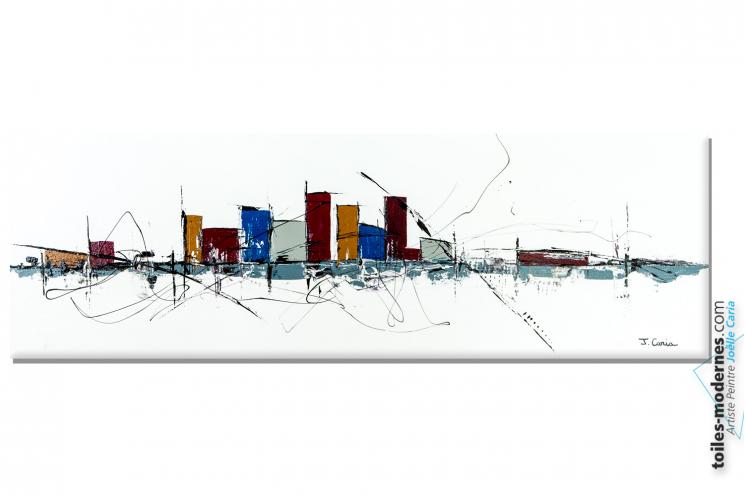 Intérieur blanc design minimaliste avec un tableau contemporain