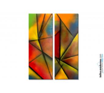 Déco colorée moderne avec un tableau diptyque multicolore : Transparence