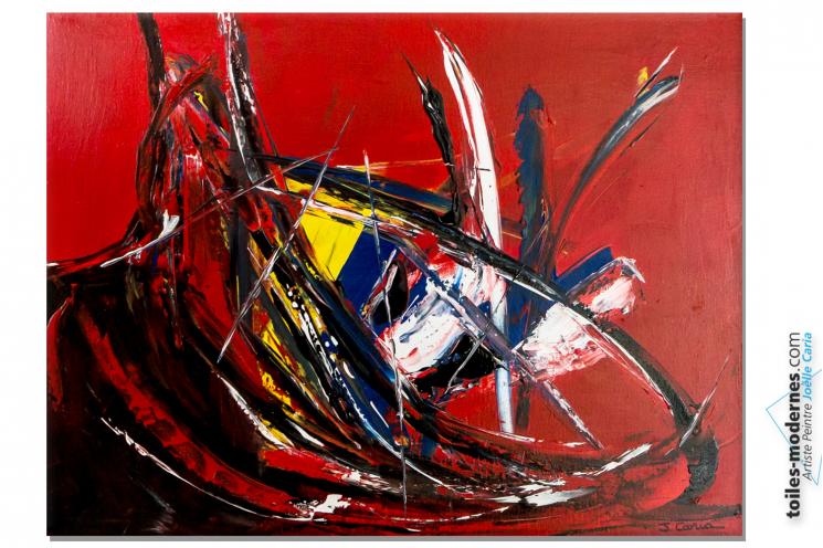 Tableau rouge  sur châssis art abstrait : Caprice d'un jour