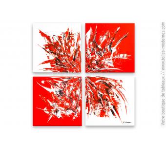 Tableau rouge et blanc contemporain : Divergence