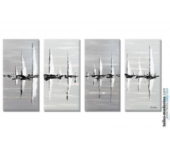 Tableau gris quadriptyque : Sur la mer
