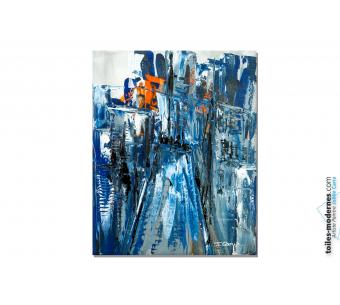 Tableau bleu moderne : Ville féerique