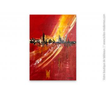 Tableau rouge contemporain : Vision magique