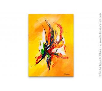 Déco mordene jaune avec un tableau décoratif: La joie de vivre