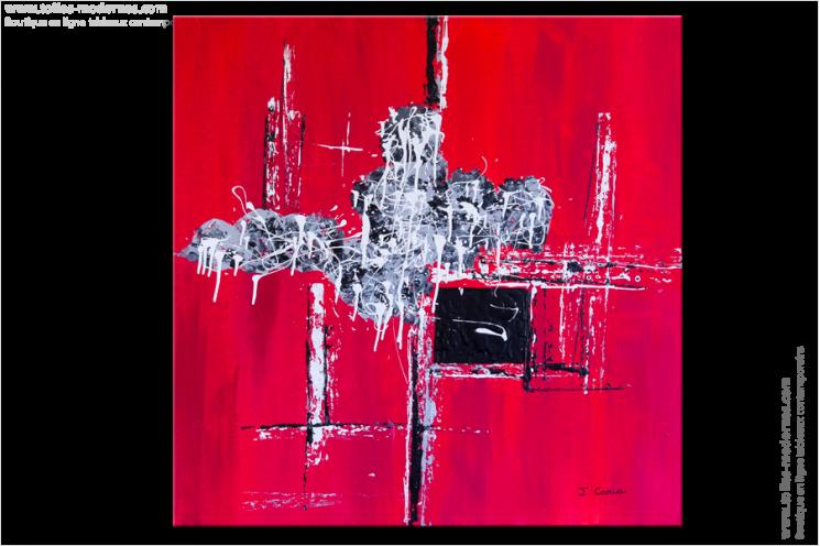 tableau moderne carr rouge tendance tableau rouge moderne carr grand format. Black Bedroom Furniture Sets. Home Design Ideas