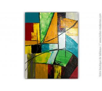 Tableau abstrait multicolore : Une journée colorée