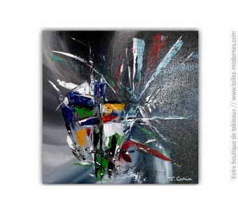 Tableau gris bleu abstrait : En quête de sens