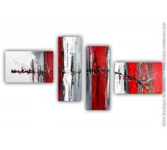 Tableau quadriptyque rouge : Forces invisibles