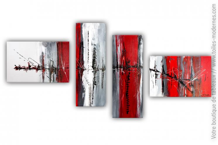 Grande décoration murale design rouge et blanc: Forces invisibles