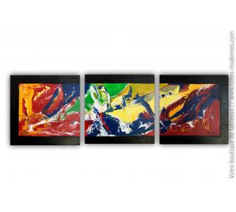 Tableau triptyque moderne : Un monde plein de couleurs