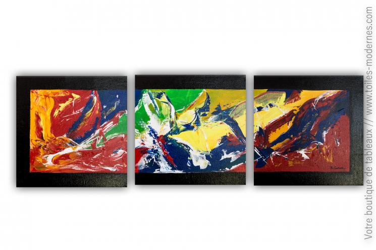 Tableau en plusieurs panneaux, coloré et moderne: Un monde plein de couleurs