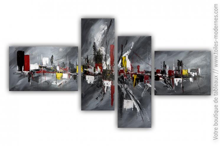 Déco design avec un grand tableau gris  : Nouvelle adaptation