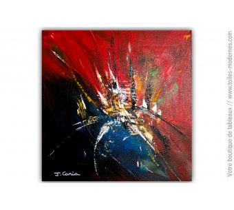 Tableau bleu noir abstrait : Une fête colorée