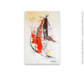 Déco gris, taupe et rouge, tableau design : Nouvelle perception