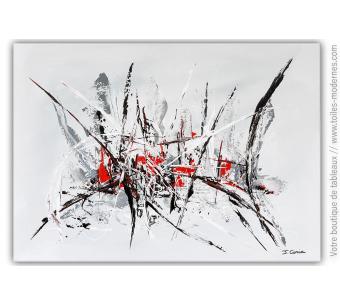 Tableau gris et blanc contemporain : Prémonition