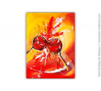 Tableau rouge et orange : Ambiance festive
