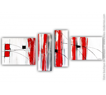 Intérieur rouge et blanc avec un grand quadriptyque : Bouffées de chaleur