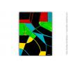 Déco design noire avec oeuvre d'art colorée : Une soirée animée