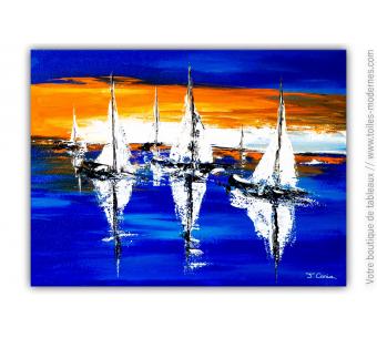 Tableau bleu moderne : Détente en mer