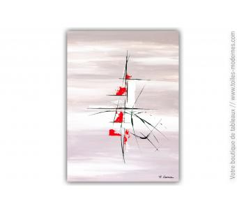 Tableau taupe abstrait : Parfum marin