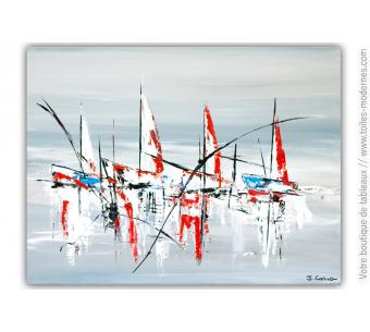 Déco marine gris et rouge avec un tableau moderne : Reg'art sur l'océan