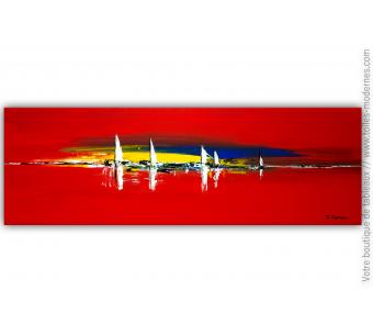 Tableau rouge contemporain : Vision marine