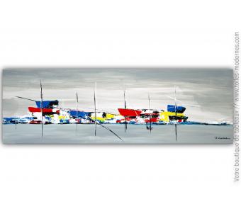 Déco gris design avec un tableau coloré : Bateau à quai