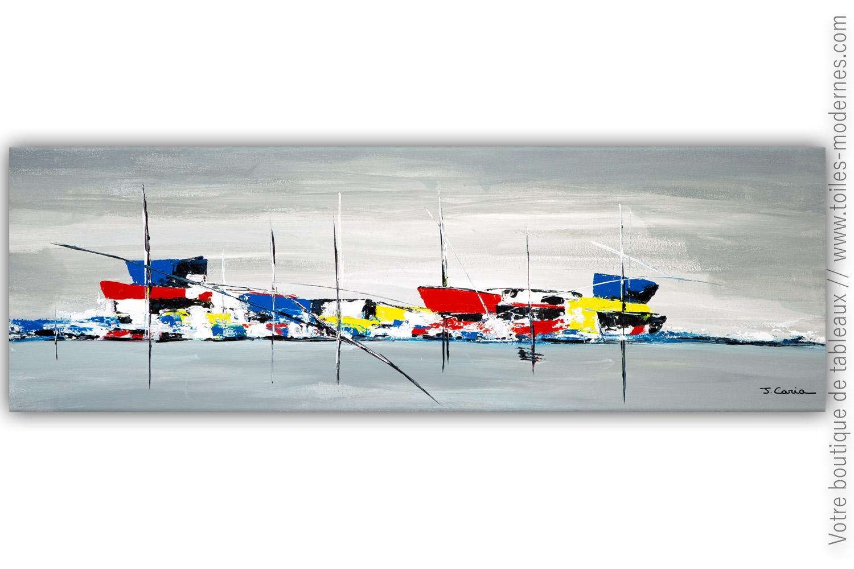 Tableau Marine Colorée Bateaux à Quai