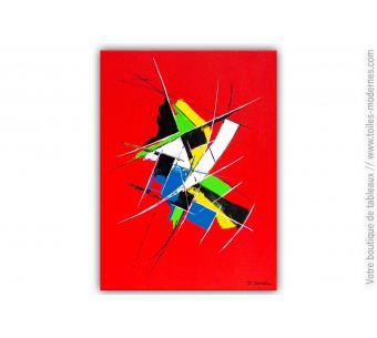 Tableau abstrait rouge : Chaleur radiante