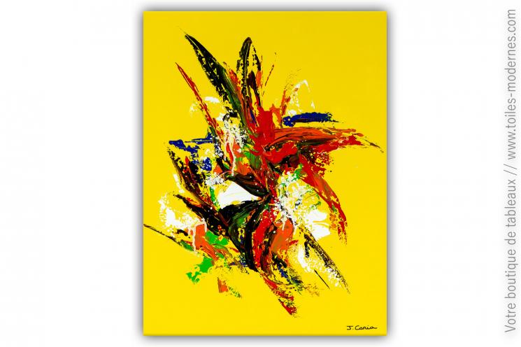 Déco jaune avec une oeuvre d'art moderne colorée  : Belles journées d'été