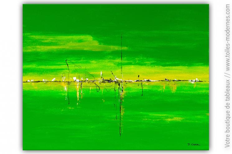 Déco verte moderne avec un tableau coloré : Coup d'éclat