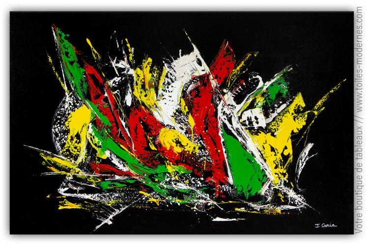 Déco noire design avec oeuvre d'art moderne : Jeu de couleurs