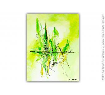 Tableau vert abstrait : Fraîcheur matinale