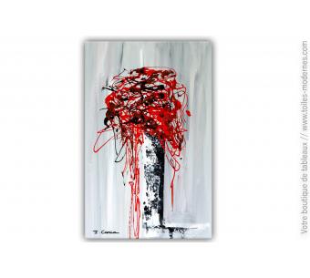 Peinture fleurs rouges, déco moderne : Fleurs de printemps