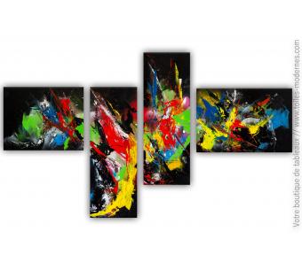 Tableau quadriptyque coloré : La valse des couleurs