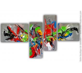 Tableau quadriptyque abstrait : L'excentricité dans l'art