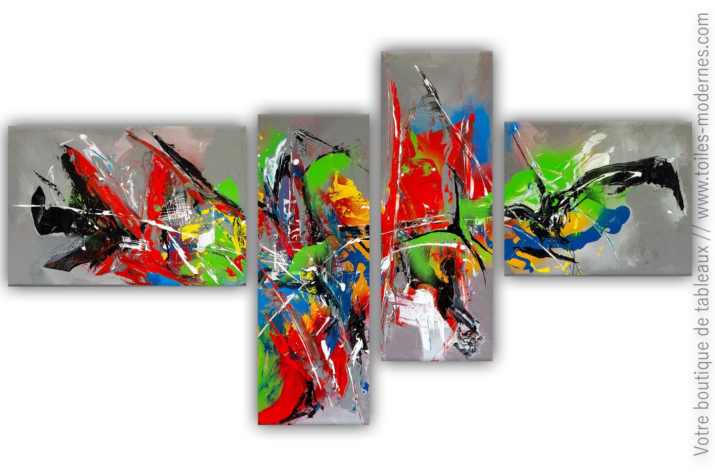 Tableau Quadriptyque Abstrait L Excentricite Dans L Art